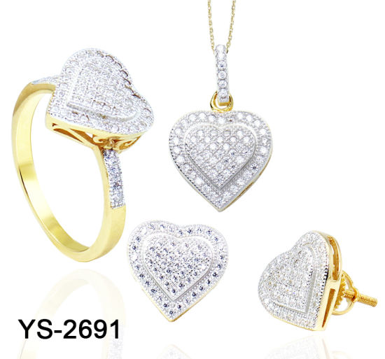 Wholesale Fashion Bridal Jewelry 14K Gold Plated 925 Sterling Silver or Brass Diamond Heart Jewelry Set for Weddings pictures & photos