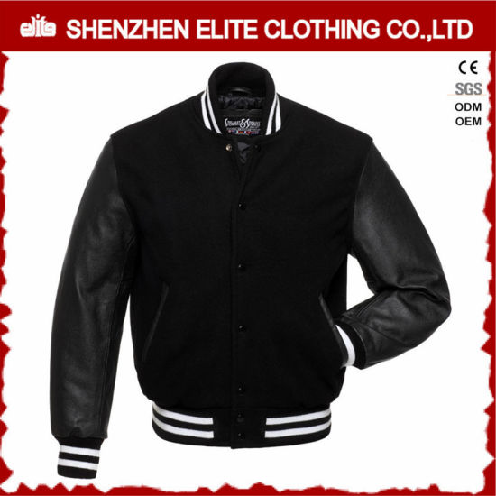 2016 Winter Plain Black Wool Bomber Jacket pictures & photos