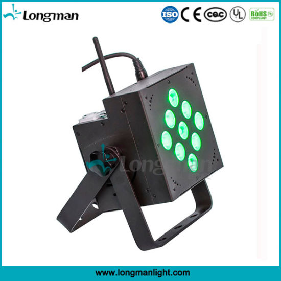 China 9*10W Battery Operated Rechargeable LED Flat PAR Light pictures & photos