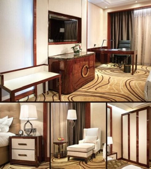 Hotel Furniture Beautiful Bedroom Set Modern Wooden TV Cabinet Wardrobe  Bedside Table Office Desk and Chair