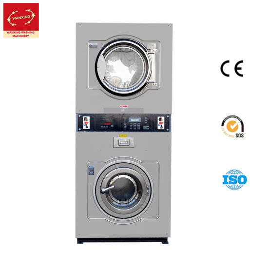 12kg Automatic Customized Stainless Steel Self-Service Coin Operated Double Stack Washer-Extractor-Dryer/Laundry/Industrial Washing Cleaning Machine (TX)