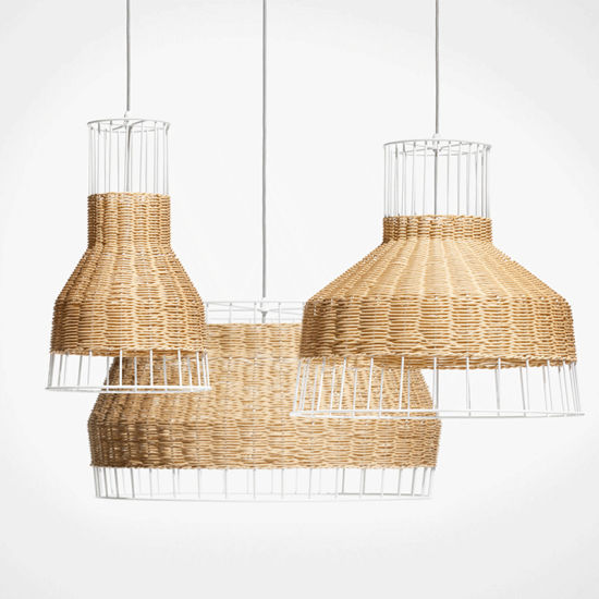 Modern Nordic Loft Dining Wicker Rattan Woven Cage Ceiling Pendant Lamp