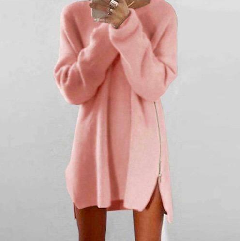 Long Sweater Women Pullover Warm Zipper Female Women Oversize Knitted Sweater