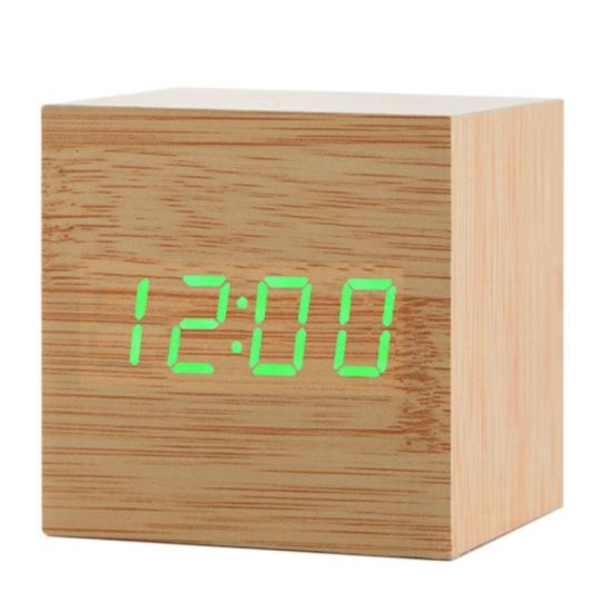 Cube Acoustic Control Wood LED Alarm Clock Table Watch Thermometer pictures & photos