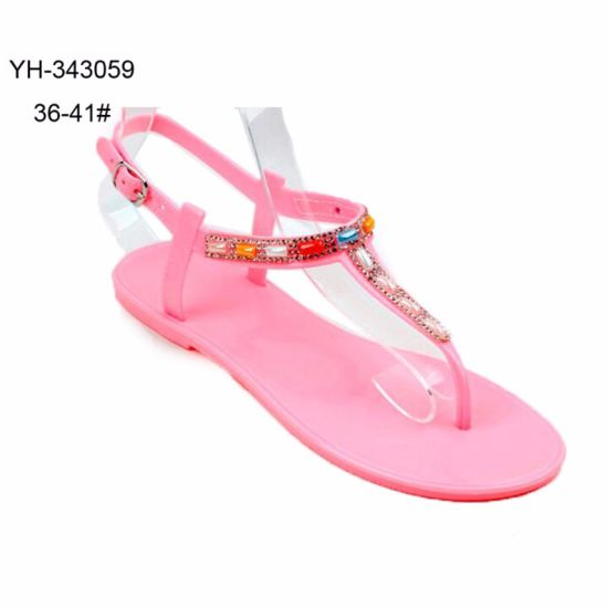 169c6d495 China Clip Toe PVC Jelly Shoes Sandals with Rhinestone for Ladies ...