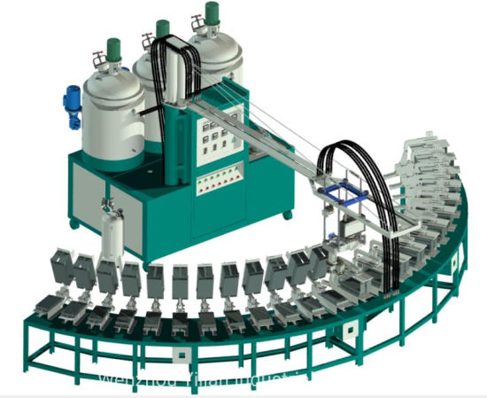 Banana Type Shoe Sole PU Pouring Machine with 34 Stations