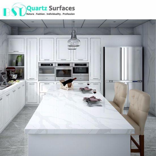 Merveilleux Prefab White Quartz Kitchen Countertops With Veins