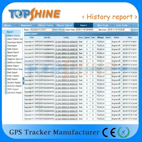 China Free GPS Tracking Platform Real Time Tracking History Report
