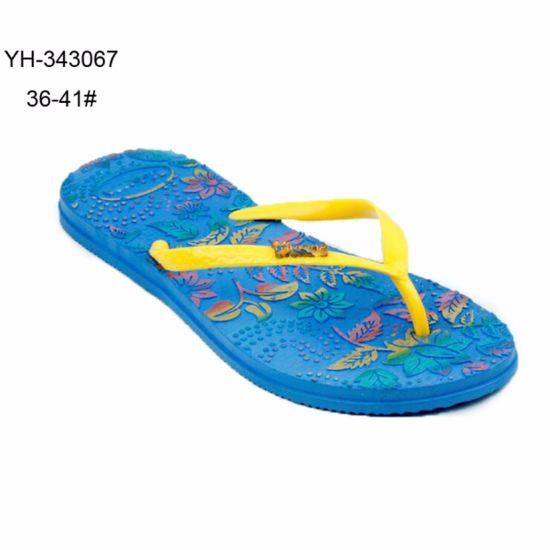 299d0d60daeb China Color Printing Embossed Flowers PVC Ladies Women Beach Slipper ...