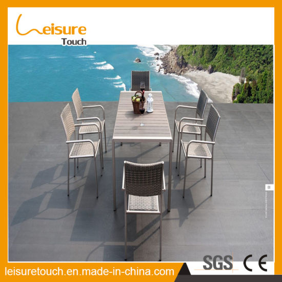 china european style cafe wiredrawing aluminum polywood chair table