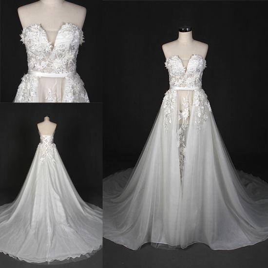 China Custom Make Lace Appliqued Long Train Bridal Gown Wedding ...