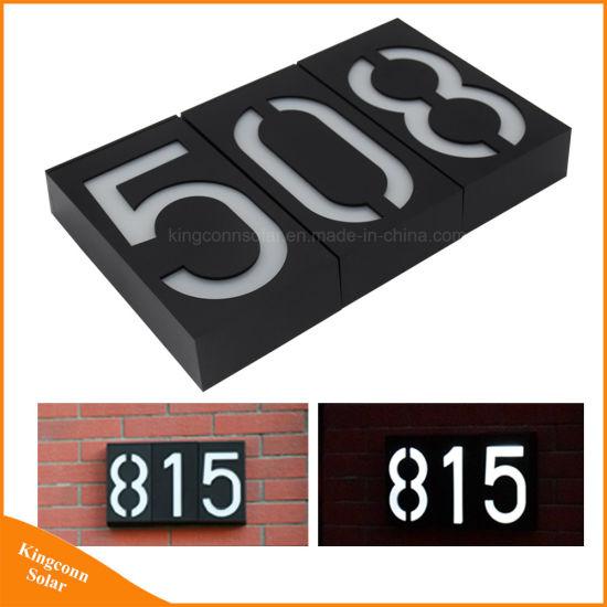 Solar Led Address Signs Doorplate Lamp House Number Porch Lights