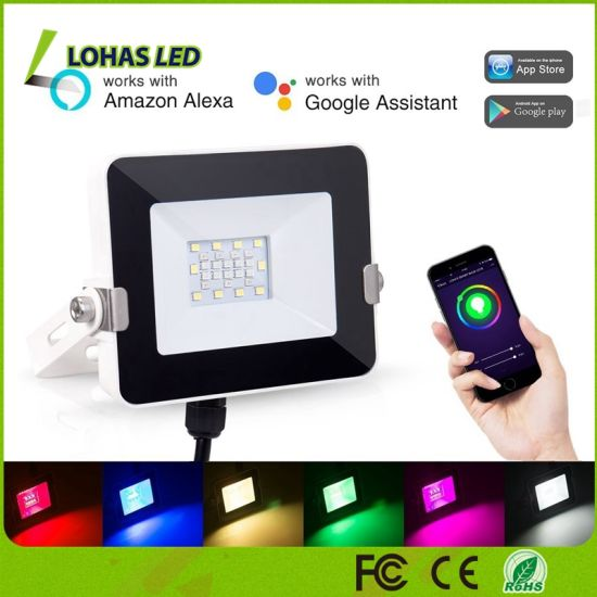 10W 2m RGB LED Floodlight Tuya WiFi Smart Outdoor Stage Light for Party  Disco