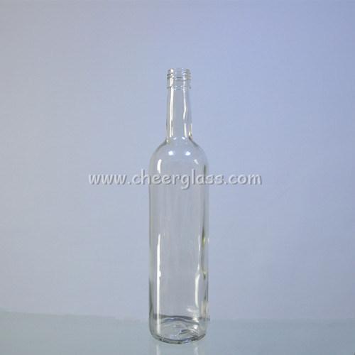 Round Shape Transparent 750ml Glass Bordeaux Bottle