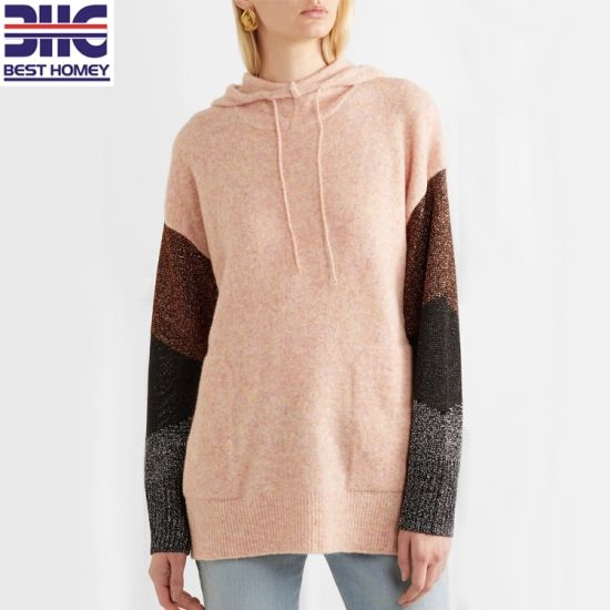 6e898e086 Multicolored Metallic Paneled Merino Wool Blend Knitted Hoodies Womens  Pullover Sweaters