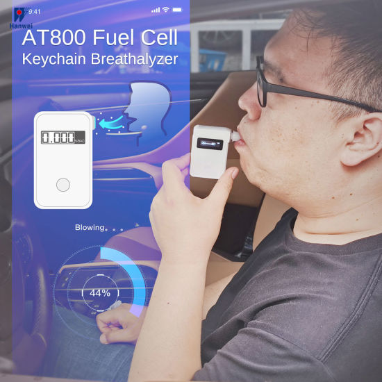 Lightweight, Compact Keychain Breath Alcohol Tester with Anti-Backflow Mouthpiece Adjustable Alarming Threshold