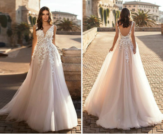 377c4a9aeb89 Lace V-Neck Bridal Gown Champagne Blush Wedding Dresses Lb1723 pictures &  photos