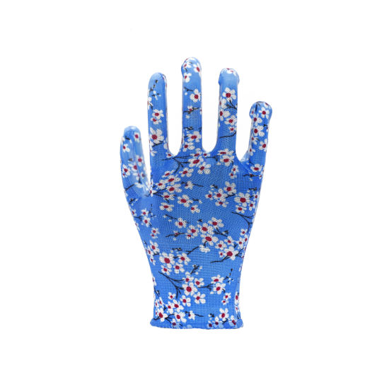 Polyester PU Coated Colorful Garden Safety Work Glove