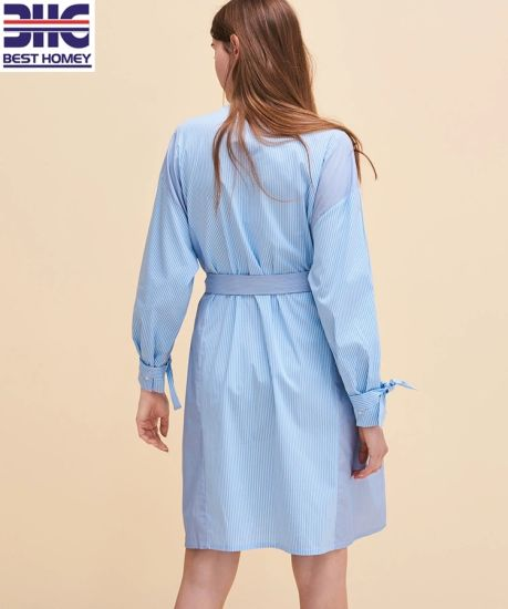 Stitching Striped Button Long Sleeves Cotton Blouses for Womens Belt Fashion Shirt Dresses Lady pictures & photos