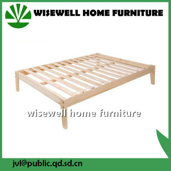 Pine Wood Latest Double Bed Designs (WJZ-B77) pictures & photos