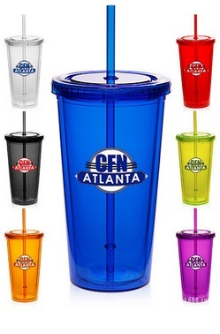 16oz Double Wall Plastic Cup with Straw