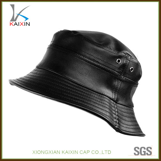 China Wholesale Hats and Caps Black Leather Bucket Hat Cap - China ... 8f59043766e