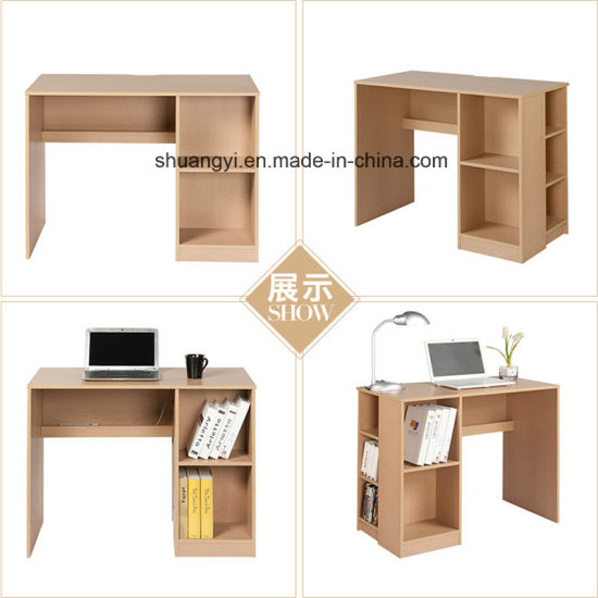 Home Office Furniture Flat Packing Wooden PC Desk with Bookshelf pictures & photos