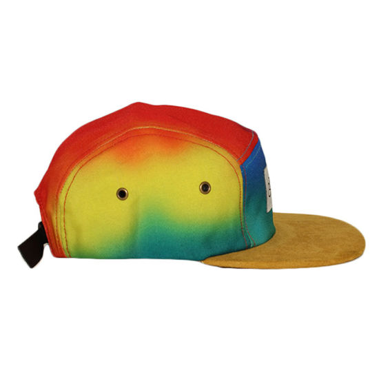 3c2af1a2933e3 China Custom Colorful Tie Dye Suede Brim 5 Panel Hat - China 5 Panel ...