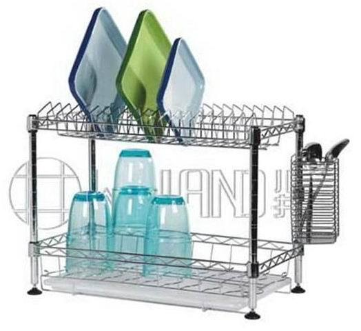 Mini 2 Tiers Carbon Steel Chrome Plated Kitchen Dish Rack pictures & photos