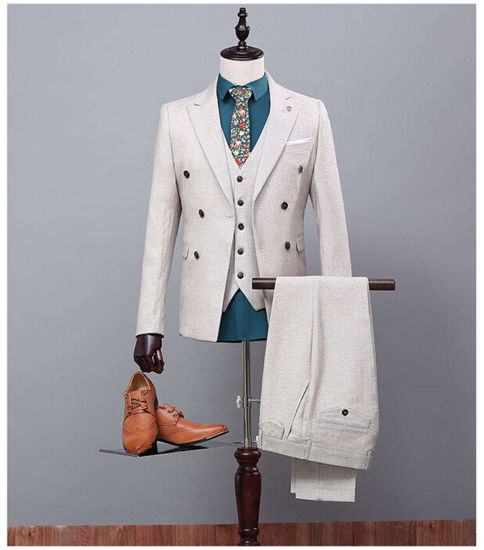 Double Breasted Customized Grey Mens Suits Mans Formal Wear for Parties Tuxedos (Coat+Pants+Vest) Ms03 Slim Fit Mans Suits Mens Wedding Suits Business Suits