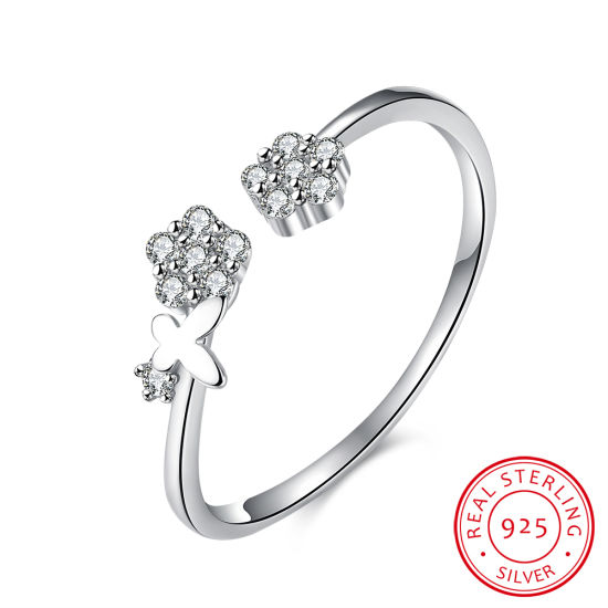 925 Sterling Silver Ringent Flower Shape Simple Design Ring Jewelry