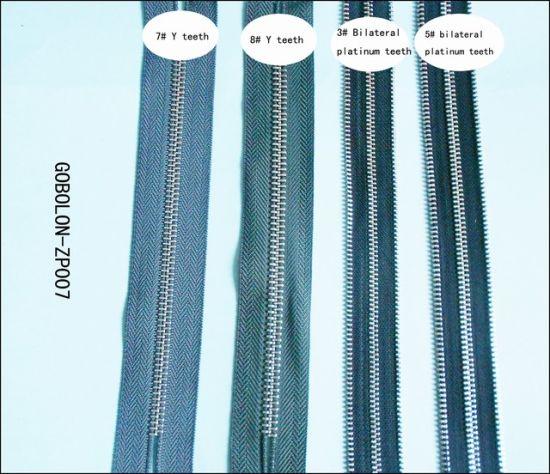 Double Sliders Platinum Teeth Zipper