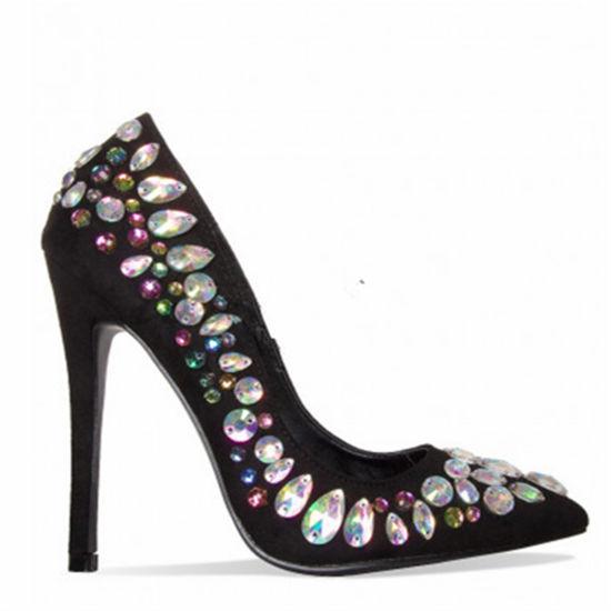 Suede Gem Stiletto Court Women Shoes Ladies Party Wear Girl Shoes
