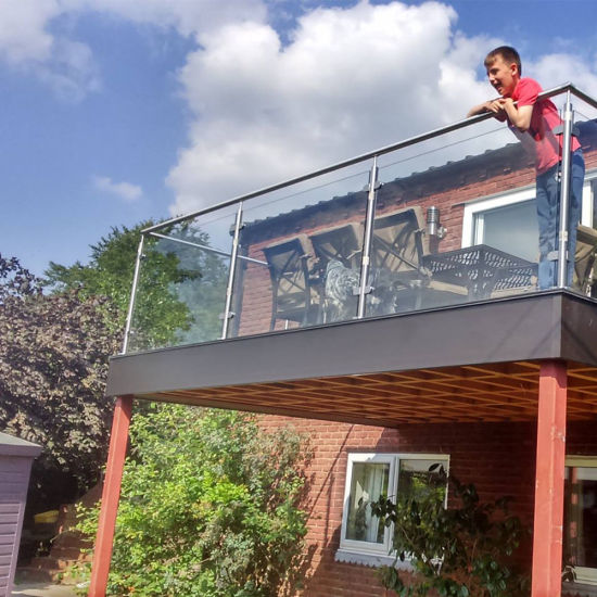 Professional Stainless Steel Outdoor Balcony Railing Design / Glass Balcony