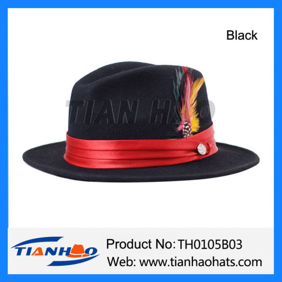 832132203 China Wool Felt Man Hat with Satin Band and Feather - China Man Hat ...