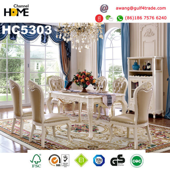 European Antique Furniture Wood Dining Table with Marble (HC5303) - China European Antique Furniture Wood Dining Table With Marble
