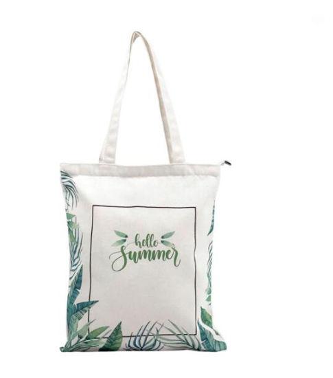 MOQ 1PC Promotional Full Color Printed Custom Logo Printed 12oz Cotton Canvas Tote Bag