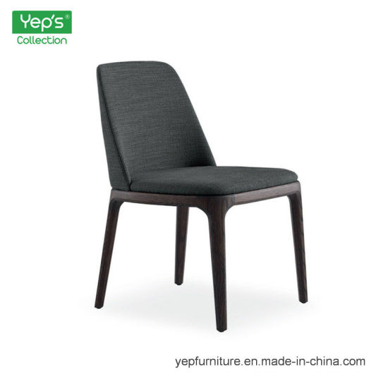 Solid Wood Dining Chair Without Armrest High Density Foam Cushion Seat