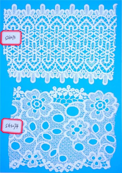 Fashion White Water Soluble Embroidery Chemical Lace for Clothing Textile Accessories Fabric