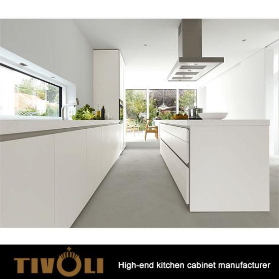 Wood Door Panel Kitchen, Stone Waterfall Kitchen Island, Glass Kitchen  Cupboards TV 0142