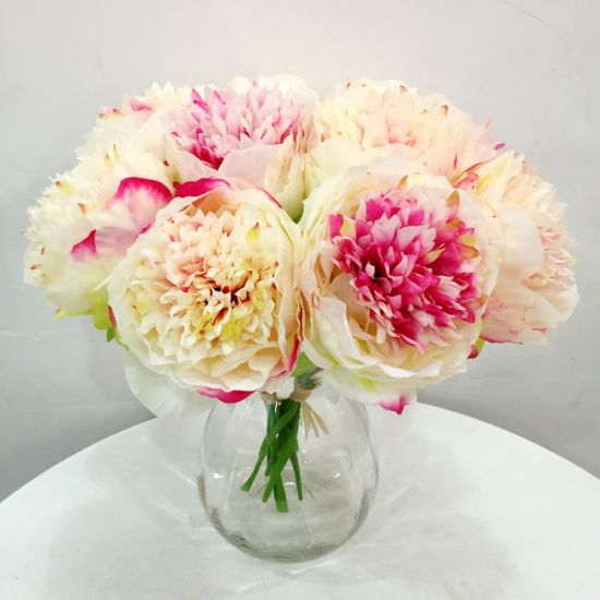 1 Bouquet Artificial Flower Fake China Rose for Wedding Decoration