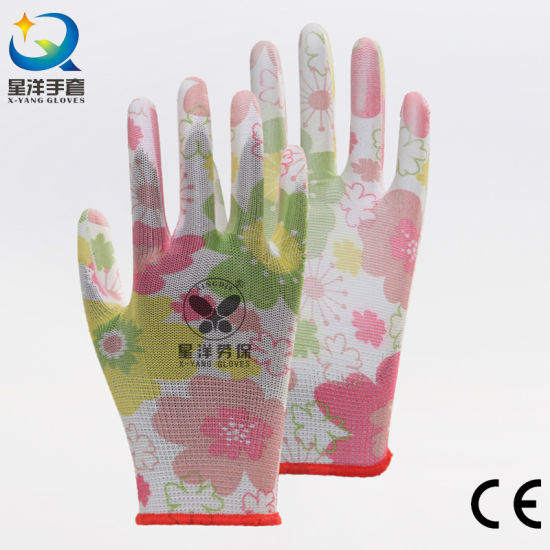 13G Printed Polyester Flower Shell PU Coating Garden Safety Work Gloves