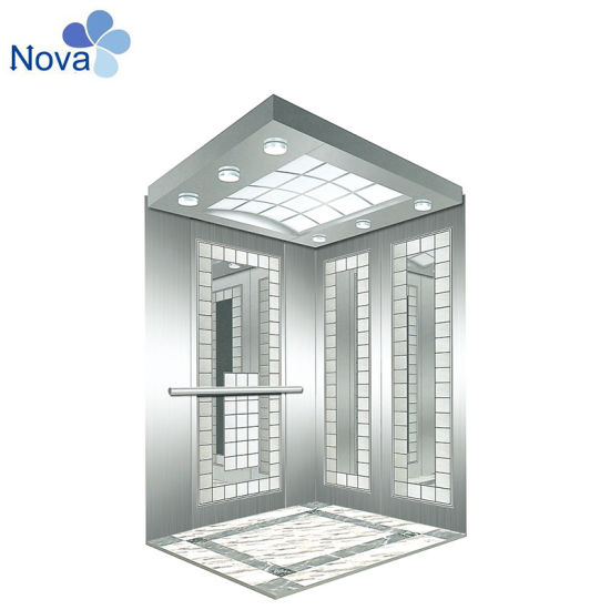 Passenger Elevator Cabin with Etched Stainless Steel Walls Elevator Parts