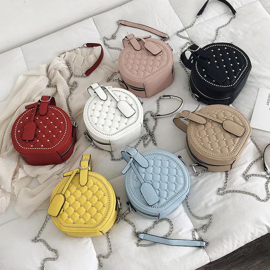 Guangzhou Factory PU Leather Women Handbag Round Rivet Shoulder Bag Purse Lady Handbag