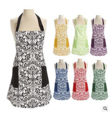 New Multicolor European Floral Pattern Cotton Apron Ladies Adult Bib Home Cooking Cleaning Apron pictures & photos