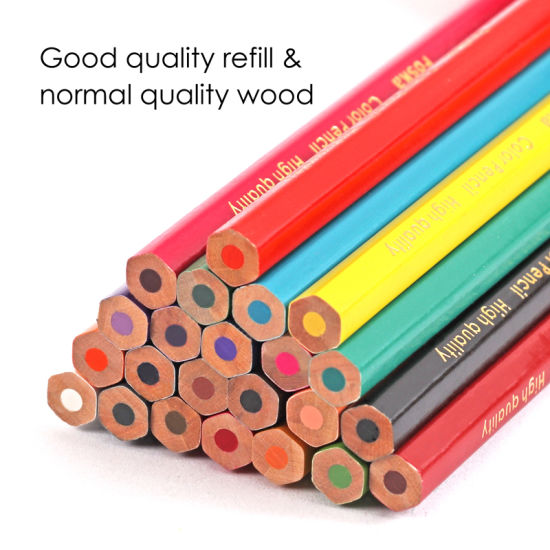 Foska 7 0′′ 24 Colors Natural Wood Hexagonal Color Pencil