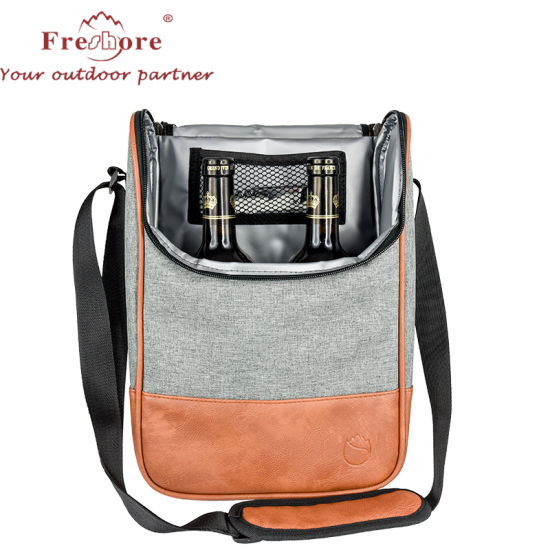 Wholesale Fashion 2 Wine Bottle Tote Cooler Bag /PU Leather Thermal Bag