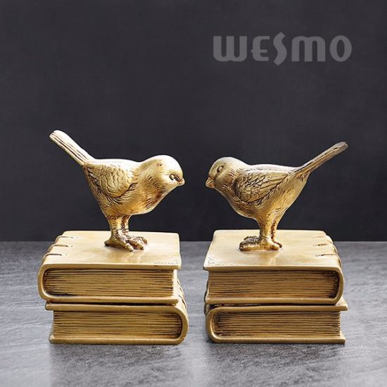 China Birds Book Ends Set - Golden Tabletop Statue - China