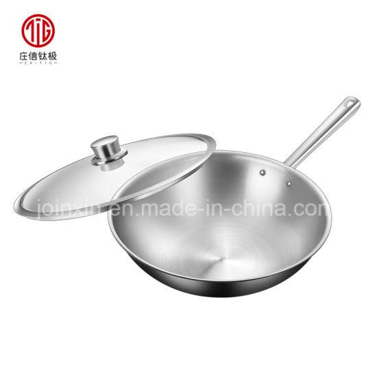 Green Initiative Pure Titanium Chinese Nonstick Stir Frying Pan Woks