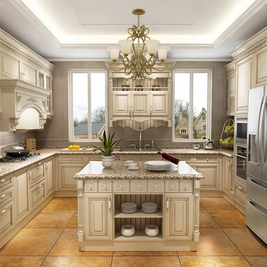 Luxury Hard Solid Wood Island Kitchen, Oak Kitchen Cabinets With White Countertops